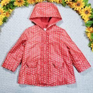 Janie & Jack red-orange/white polka dot rain coat